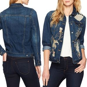 Floral Embroidered Med. Wash Denim Jacket NWT